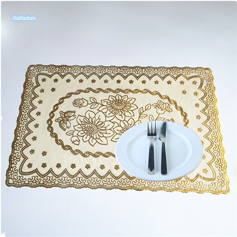 Hot Sale PVC Europe Bronzing Table Cloth Kitchen Dining Decoration Dink Wine Coaster Mat Insulation Place Mat Bowl Plate Pad