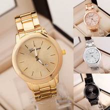 Sizzling Sale Style Costume Gold Rose Gold Geneva Quartz Wristwatch Wrist Look ahead to Girls Males Full Stainless Metal /w Calendar