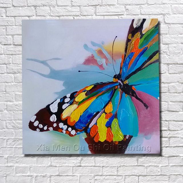 Pas cher moderne toile art 100 peint la main belle papillon peinture l - Peinture sur toile moderne pas cher ...