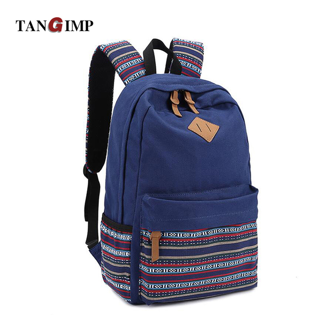 570e7b41f2 TANGIMP 16   Female Male Canvas Backpacks College School Student Ethnic  Rucksacks Travel Bags Mochila Laptop Backpacks Men