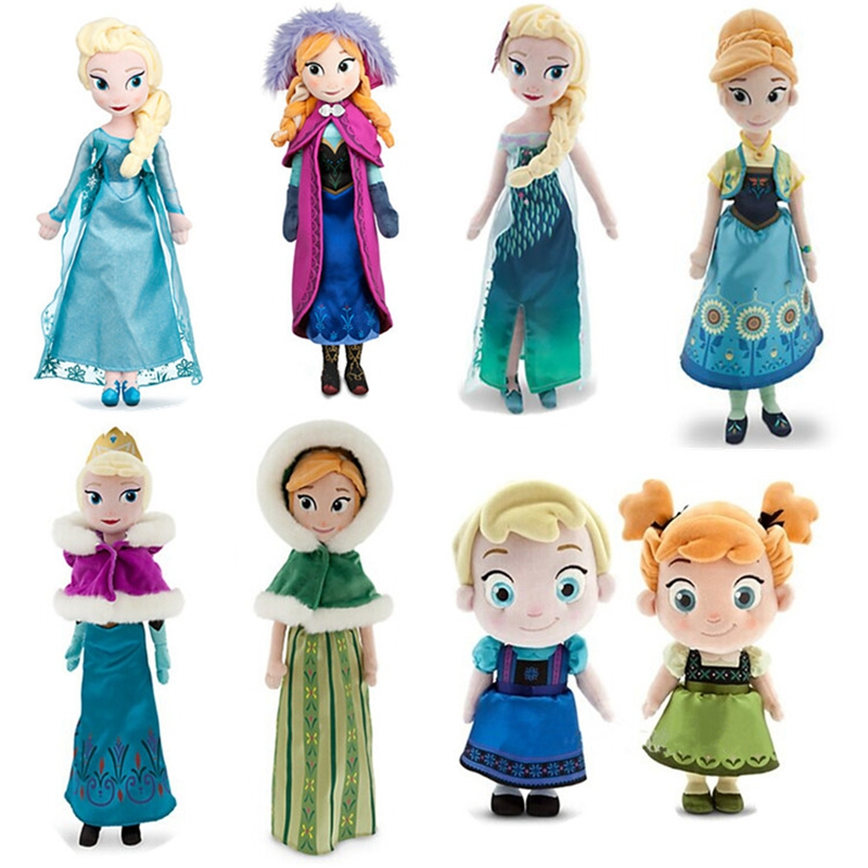2pcs set princess elsa anna stuffed plush doll snow queen toys for kids gifts. Black Bedroom Furniture Sets. Home Design Ideas