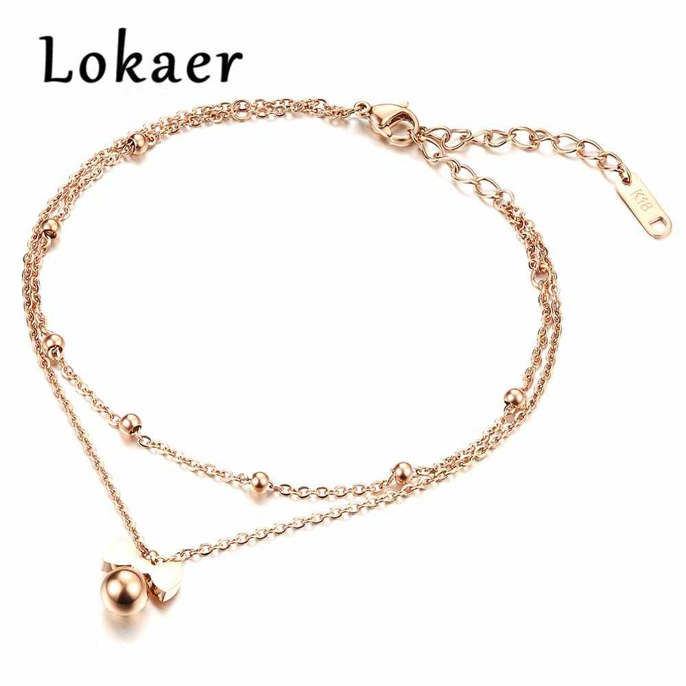 Lokaer New Delicate Bowknot Anklets Classic Rose Gold Color Stainless Steel Double Layer Women Ankle Jewelry Bracelets LGZ020