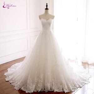 Image 5 - Waulizane 제국 허리 라인 수 놓은 레이스 strapless 웨딩 드레스 레이스와 신부 드레스