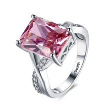 2019 new platinum rings Fashion Women Jewelry Ring big square pink CZ 925 Silver Color wedding Engagement Rings Party Gift r827