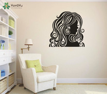 Removable Room Decoration Wall Sticker  Beauty Hair Girl Spa Salon Decals Modern Decal KW-192