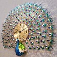 Большие настенные часы с павлином, современный дизайн, домашний декор, настенные часы для гостиной, спальни, немые часы, настенные металлические цифровые настенные часы