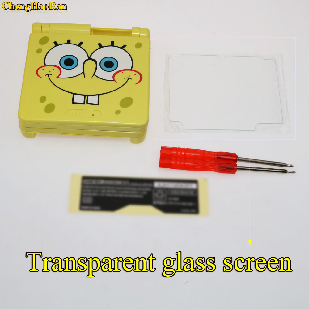Image 3 - 1set Glass Screen Plastic Full Repair Parts Replacement Housing Shell Cases Cover Kit Sets For SpongeBob Game boy GBA Advance SP-in Cases from Consumer Electronics