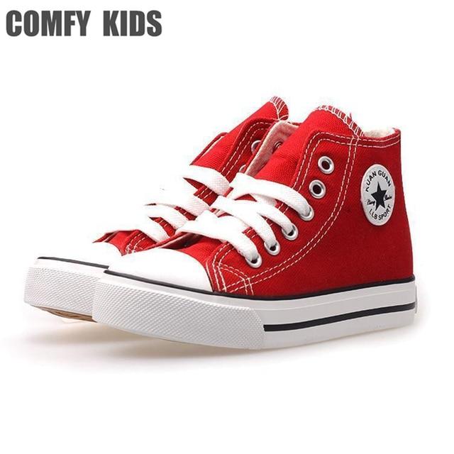 486d77aab89 Comfy kids kind canvas nieuwe kinderen mode sneakers schoenen jongens  sneakers hoge schoenen voor meisjes jongens