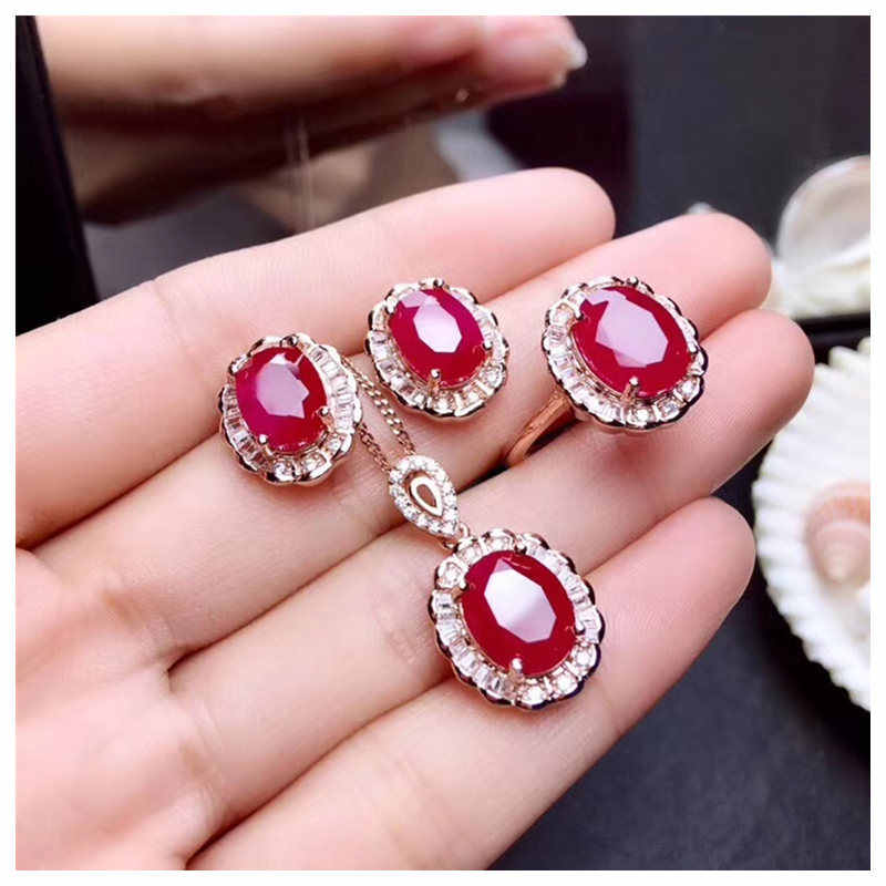 Ruby jewelry sets Classic Sun flower Necklace Ring Earrings 925 Sterling silver women Bride gift fine Jewelry sets #176