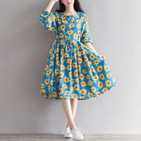 Sunflower Print Long Sleeve Cotton Mori Girl Dress 2017 Summer Casual Loose Big Size Waist Beach
