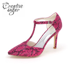 Creativesugar snake skin pattern pointed toe T strap high heels wild style night club party lady