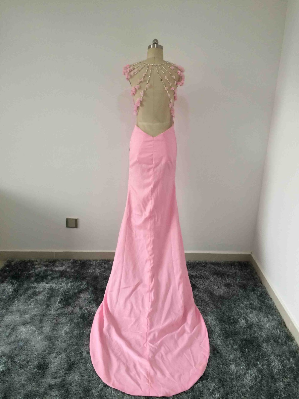 Solovedress Sexy Beadeds and flowers Evening Dresses Prom Dress with Trian Stain Mermaid Formal Gown vestido de festa longo RP03