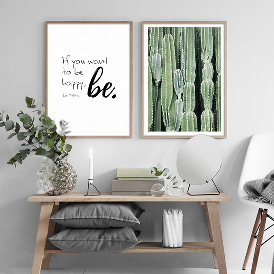 Modern cactus leaves green plants canvas paintings nordic wall art posters prints pictures for for Living room wall decor pictures
