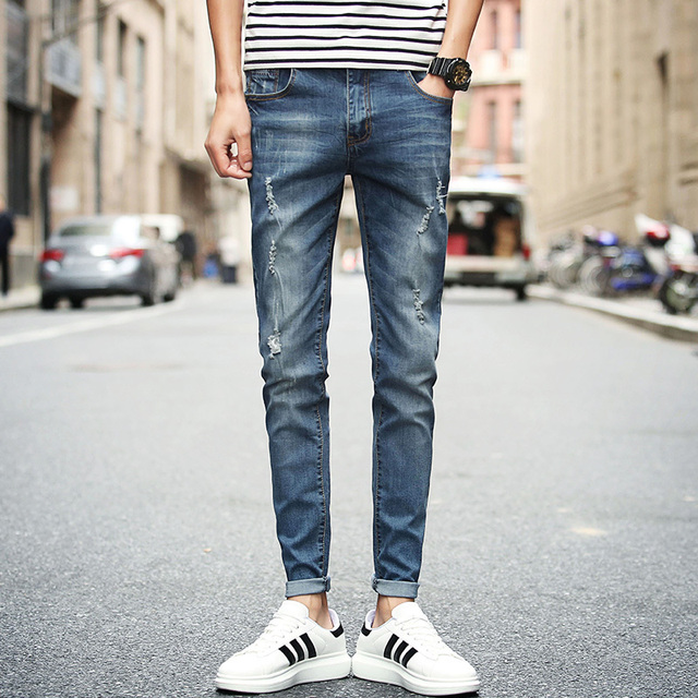 eff9b042911 2018 Spring New Men Ripped Jeans Korean Slim Fit Casual Denim Mens Pants  Hot Sale Summer Full Length Jeans Trousers Male 28-34