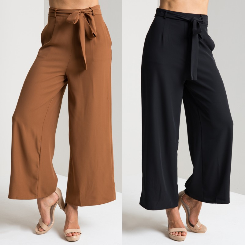 2016 Summer New Women Las Vintage High Waist Bow With Belt Wide Leg Palazzo Pants Office Casual Work Elegant Trousers In Capris From S