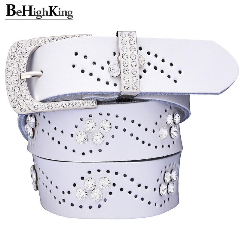 Fashion Hollow Belts For Women Quality Cow Skin Genuine Leather Female Belt Designer Rhinestone Waist Strap Width 3.3 Cm White