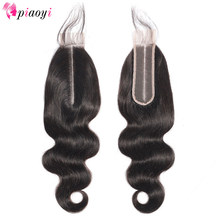 Piaoyi Hair Brazilian Body Wave 8-22 Inch 2*6 Lace Closure 100% Human Hair Natural Color Remy Hair Weaving 1PC/Lot Free Shipping(China)
