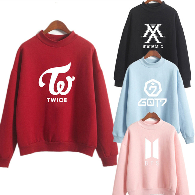 HENRY LEHMAN exo blackpink Kpop BTS SUGA blue embroidery loose hoodies women 2019