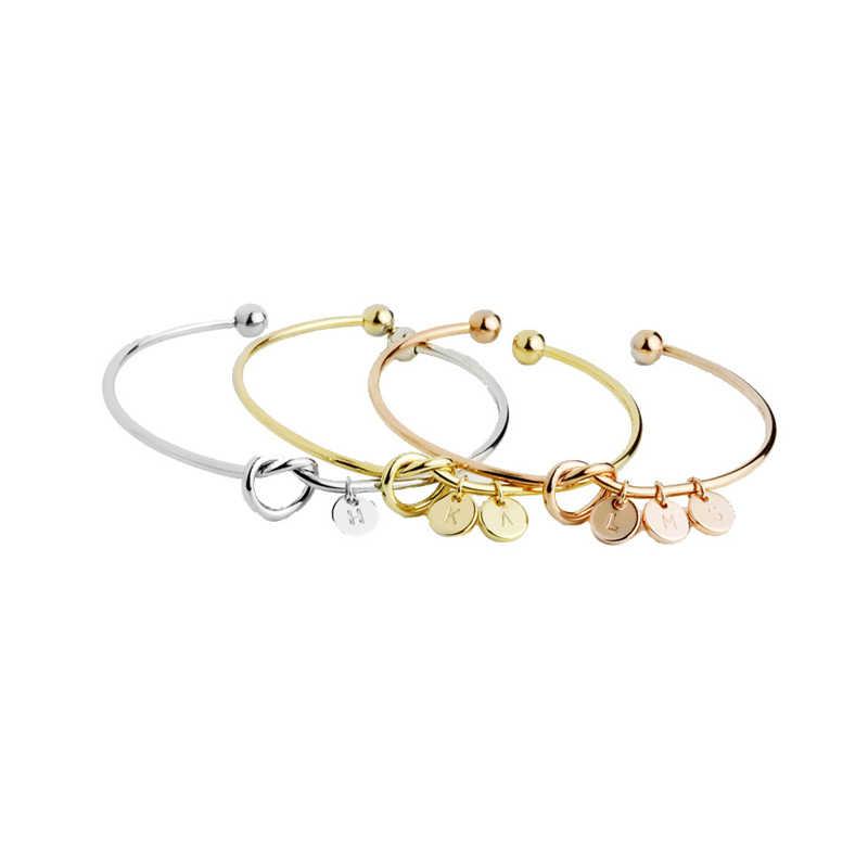 חדש אופנה חמה רוז זהב כסף מצופה סגסוגת מכתב A-Z צמיד נחש שרשרת קסם צמידי תכשיטי אישיות נשי