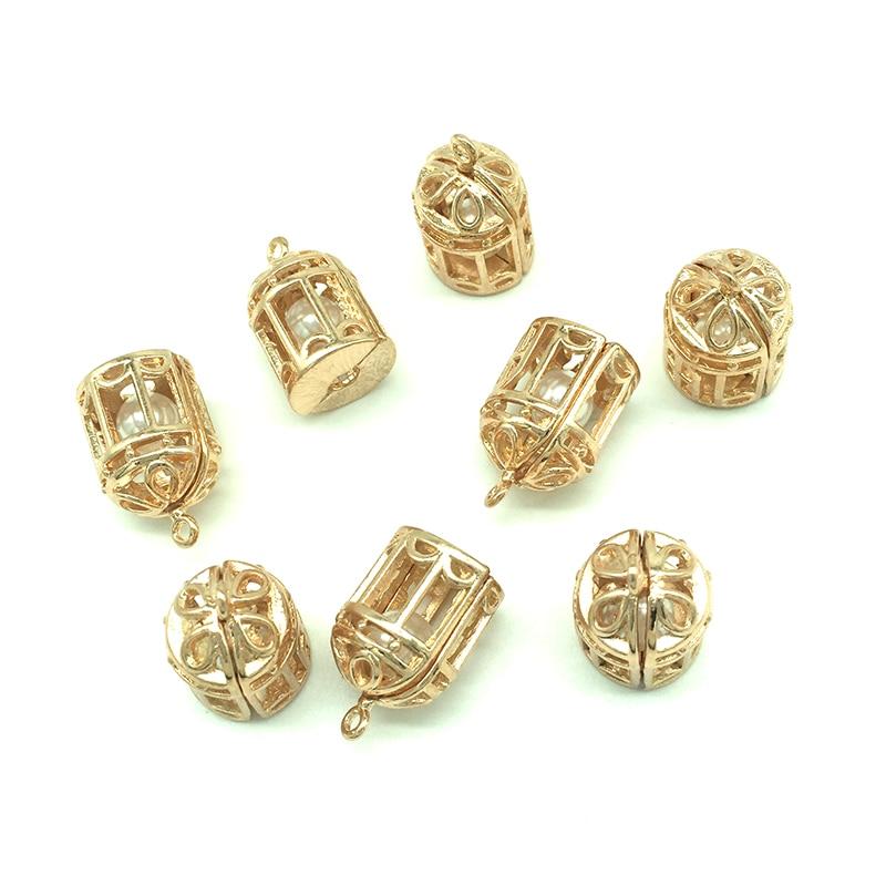 5pcs Round Locket Imitation Pearl Clasp DIY Necklace Bracelet Clasp Craft