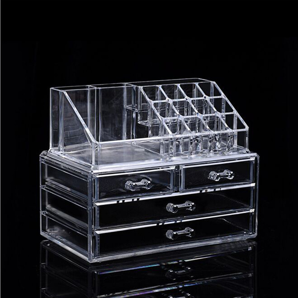 Transparent Color Three Layers Multifunction Showing Shelf Acrylic Display Storage Case , Make Up Nail Art Tools Container replacement projector bare lamp ec j1001 001 for acer pd116p pd116pd pd521d pd523 pd523d pd525 pd525d