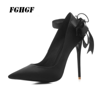 New women pumps 2018 sexy spiky slim heels elegant and easy bow single shoes women's shoes 12cm high heels 34 and 43 yards