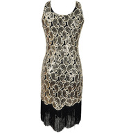 Women 1920s Sequin Paisley Pattern Sleeveless Racer Back Flapper Black Gold Dress Sexy Fringe Great Gatsby Party Dress