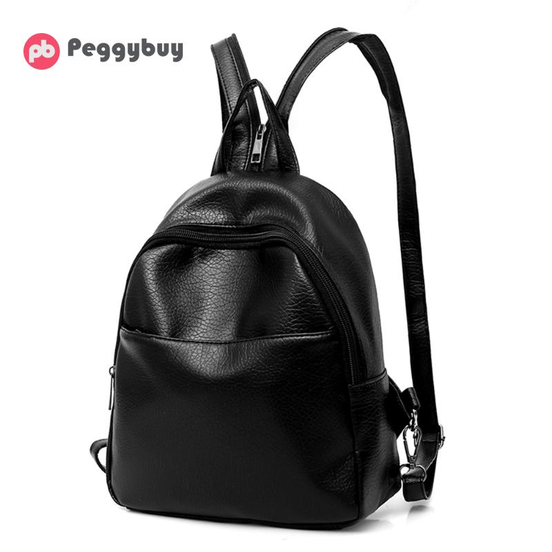 8cf7ac5172 3Pcs Set Small Women Backpack for Teenager Girls Pu Leather School Bags  Black Shoulder Bag Purse Female Backpack Mini Sac A Dos Tags