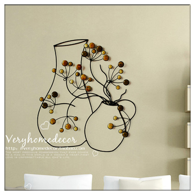 European Creative Wall Murals Wrought Iron Decorations Simple And Modern Home Accessories Hanging