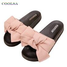 COOLSA/летние женские тапочки с бантом; тканевые дизайнерские тапочки на плоской нескользящей подошве; милые домашние шлепанцы; повседневные сандалии; женская пляжная обувь