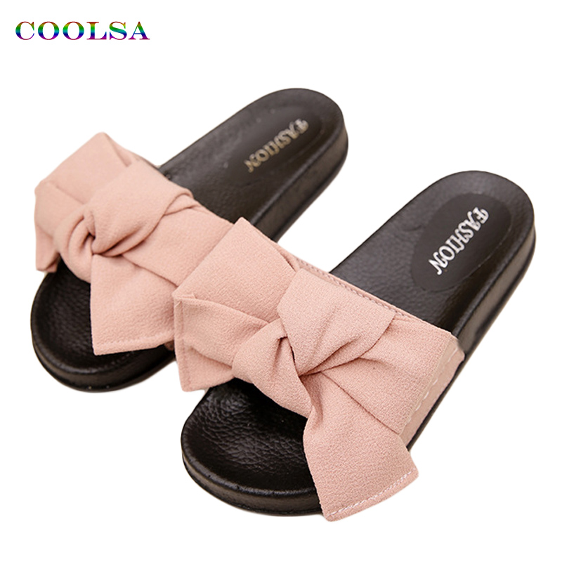 COOLSA Summer Women's Tøfler Bow Fabric Designer Flat Non-Slip Cute Slides Hjem Flip Flop Casual Sandal Kvinde Tap Beach Shoes