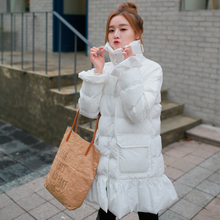 2015 winter new arrival women quilted cotton coats long outwear slim cute wave cut hem long