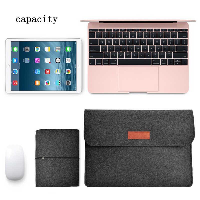 צמר הרגיש Slim שרוול מחברת שקיות עבור Macbook Pro רשתית 11 13 15 מקרה עבור Xiaomi אוויר 12.5 13.3 15.6 משטח מחשב נייד 13.5 כיסוי