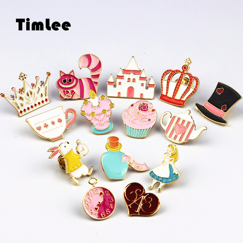 Timlee X227 Cartoon Cat Cute Emalje Pins Broche Crown Metal Broche Pins Gave Engros