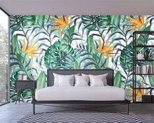 beibehang Custom silky papel de parede wallpaper Nordic hand-painted small fresh tropical plants flowers birds garden background