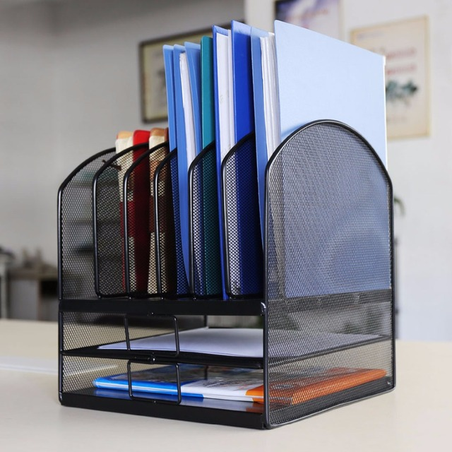 HLC Desktop Organizer Mesh Triple Magazine Rack Multi Functional Book  Notebook Storage Best For Home
