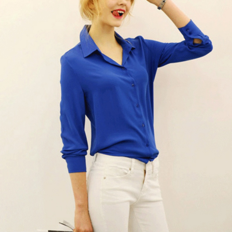 Summer Fashion Girl Chiffon Blouse Casual Long Sleeve Shirt Women Summer Clothing Blusas Tops 5 Color Hot