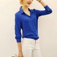 Summer Fashion Girl Chiffon Blouse Casual Long Sleeve Shirt Women Summer Clothing Blusas Tops 5 Color Hot