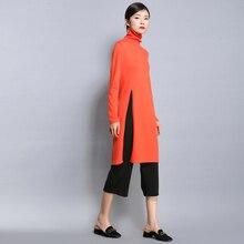 2018 Для женщин с длинным рукавом Повседневное повязки вязаное платье Разделение Элегантный мини Водолазка кашемировая Платья для женщин Обувь для девочек одежда