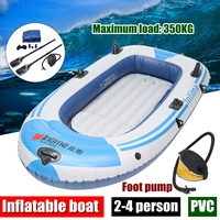 fishman Sports Inflatable Fishing Boat Raft PVC Canoe Dinghy Tender 2/3/4 Person Kayak Fishing Boats Cushion Rowing Boats