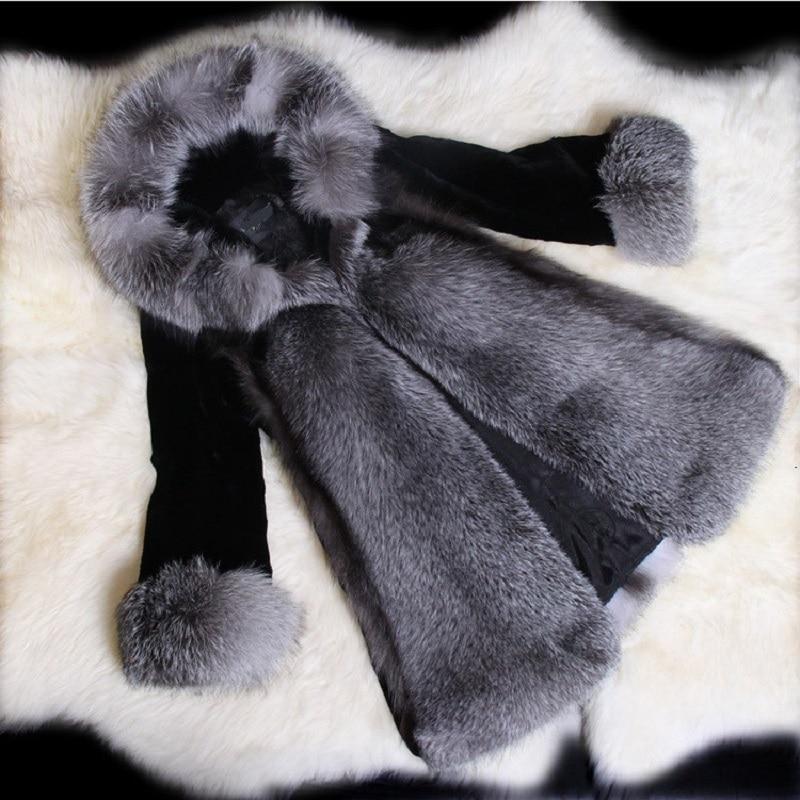 D'hiver Fourrure De Femmes Survêtement Faux Taille Veste Furry Longues Noir Manches Modes Manteau À Luxe La Hoodies Chaud Plus Longue SwfxfW0Z