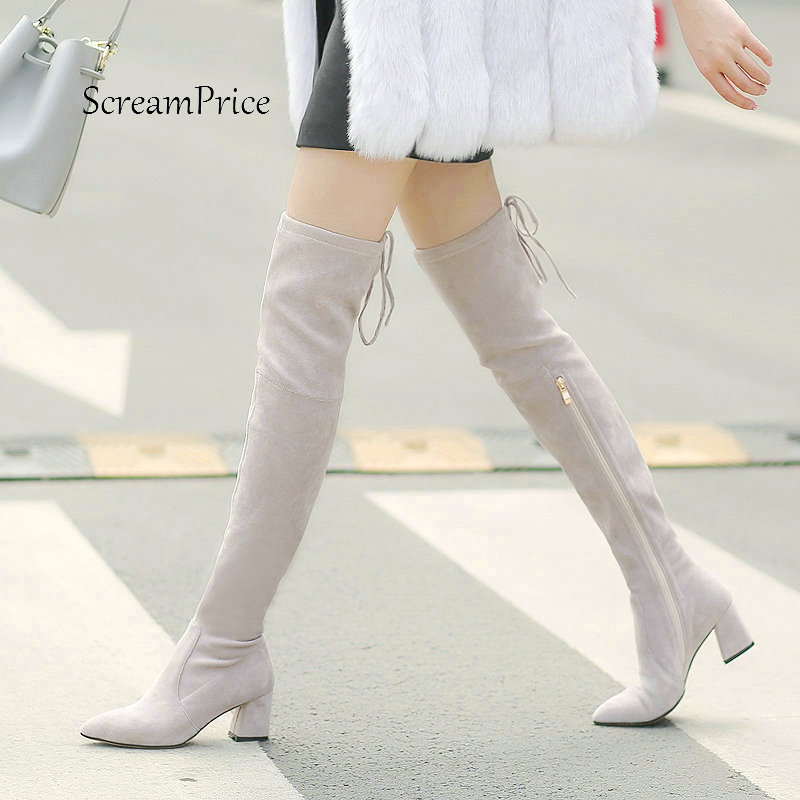 Women Suede Comfortable Square Heel With Side Zipper Thigh Boots Fashion Cross Tied Winter Elastic Boots Black Gray Green women suede comfortable square heel thigh boots fashion rivet winter elastic boots black gray dark gray