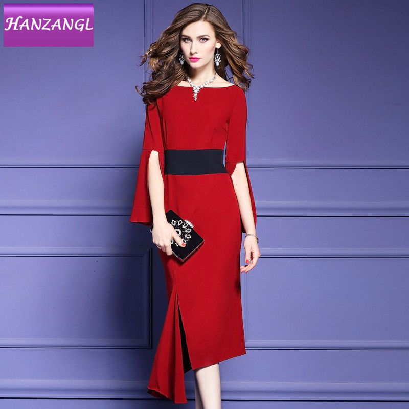 HANZANGL 2019 spring autumn commute ol Asymmetrical solid color dress female cultivate irregular long Career Dresses