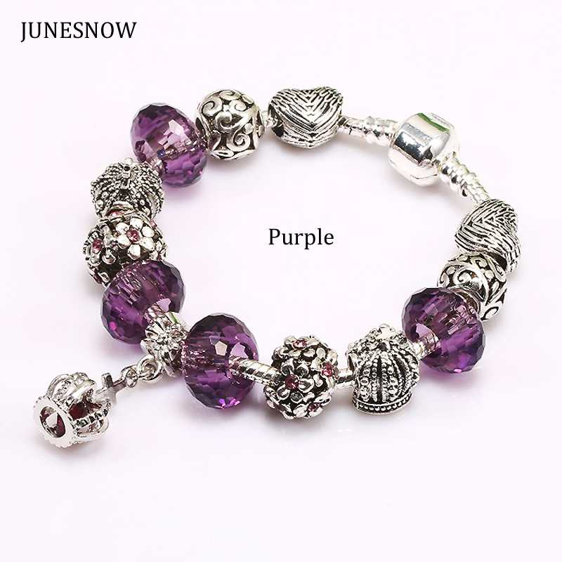 JUNESNOW 2017 New Design Purple Crown Beads fit Original Charm Bracelet With Heart bead for Women