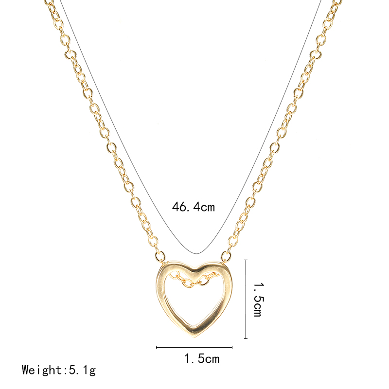Fashion necklace heart design black gold sliver color hollow simple jewelry  1
