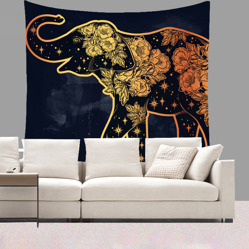 Smiry 130X150cm Short Plush Tapestry Animal Indian Elephant Wolf Butterfly Pattern Wall Hanging Yoga Mat licorne Beach Towel