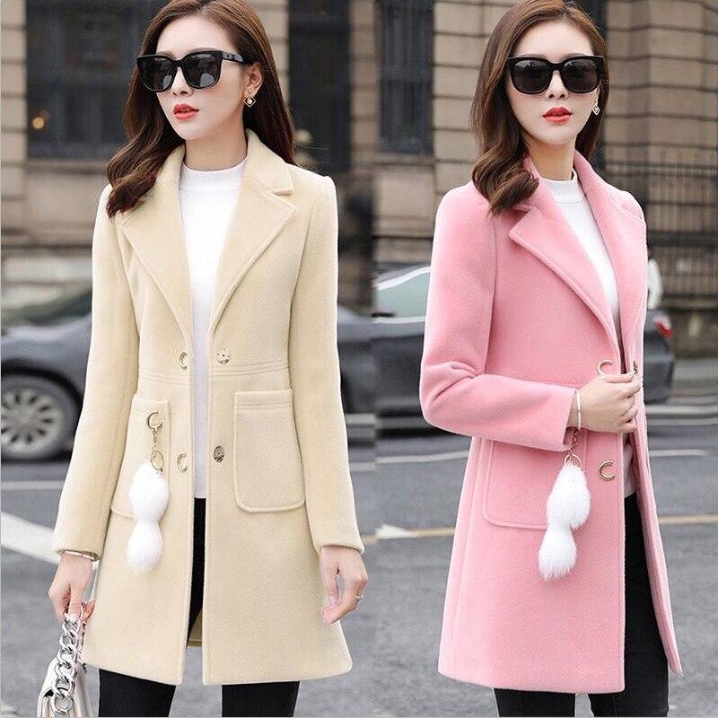 New 2019 Blends Woolens Overcoat Female Coat Autumn Winter Coats And Jackets Women Plus Size Coat Women's Wool Coats Long Tops