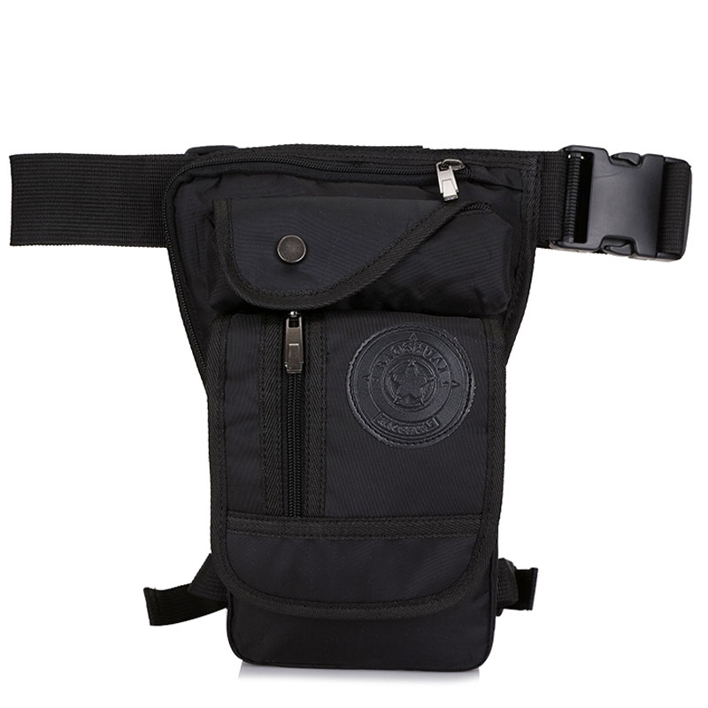 Men's Waterproof Nylon Drop Leg Bag Fanny Pack Waist Belt Thigh Hip Bum Military Motorcycle Riding Black Pouch Pack Packet Bag