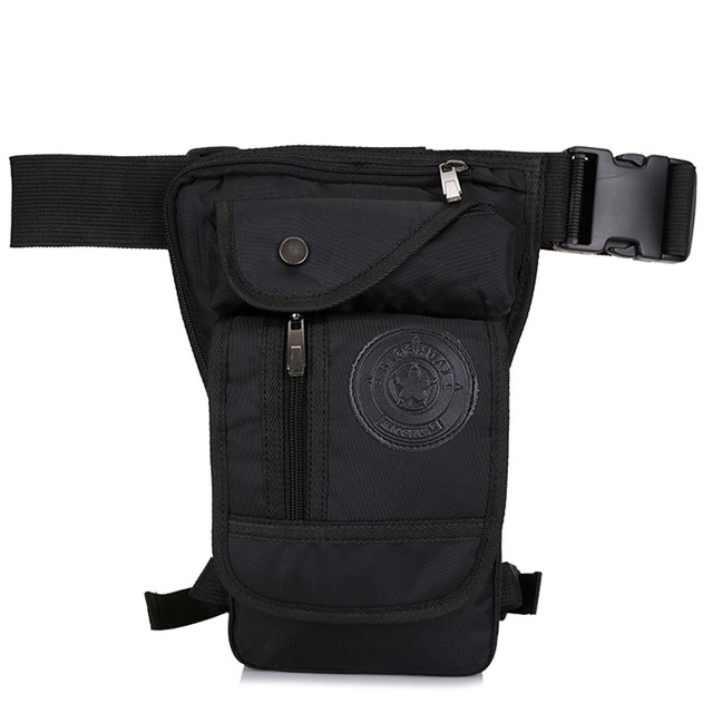 Mens Waterproof Nylon Drop Leg Bag Fanny Pack Waist Belt Thigh Hip Bum Military Motorcycle Riding Black Pouch Pack Packet Bag