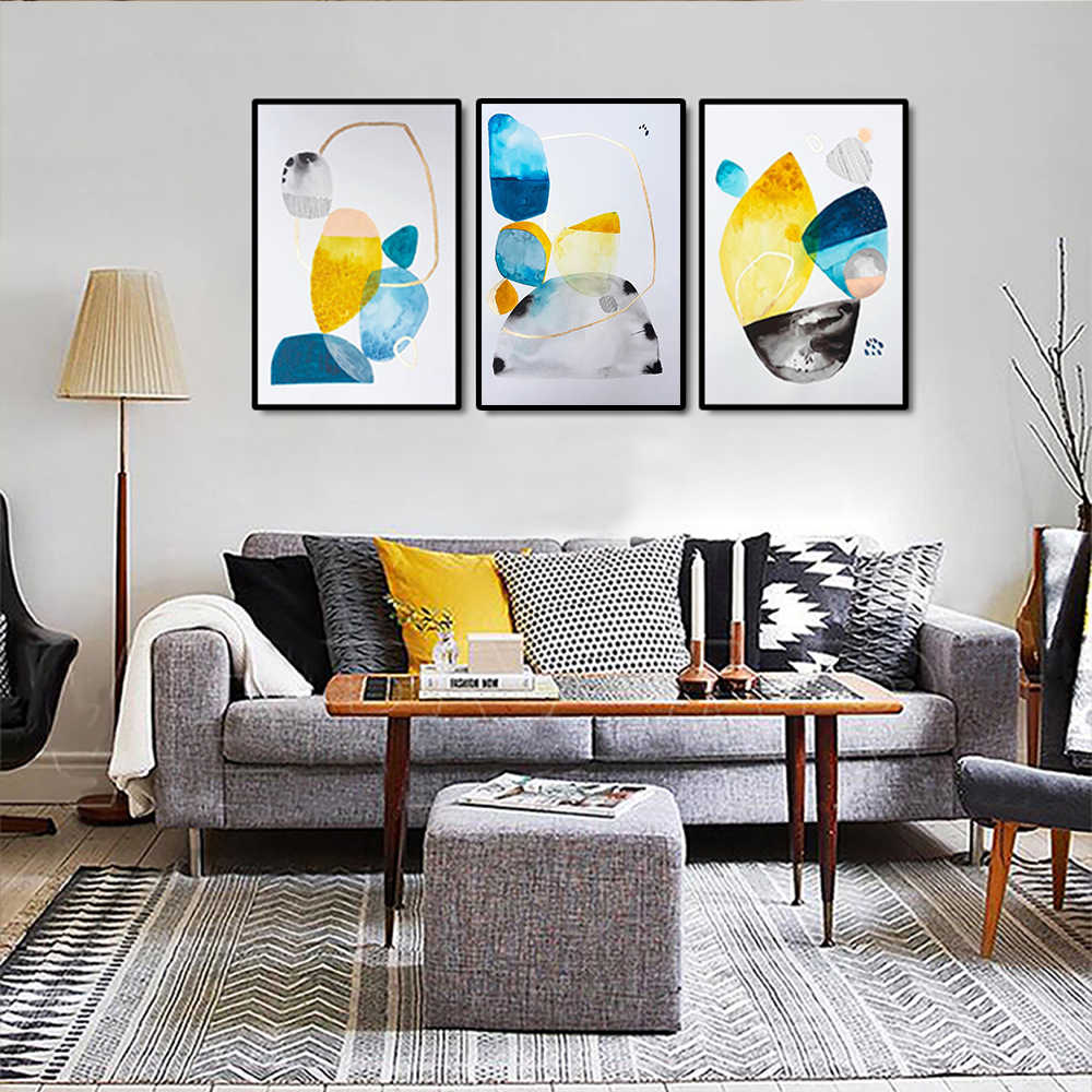Nordic Watercolor Gold blue  Printing Canvas Painting Living Room Decoration Wall Art Posters And Prints
